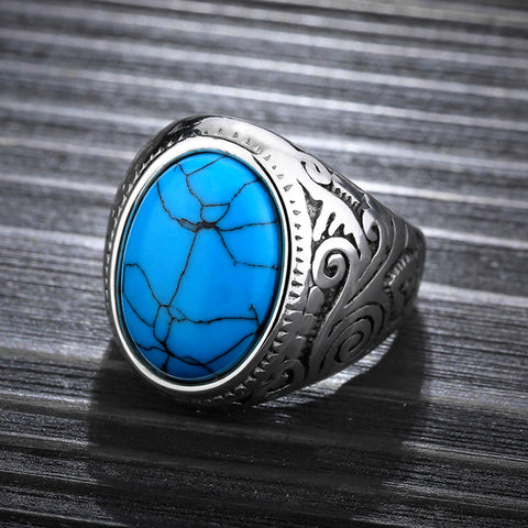 Image of Men's Ring With Blue Stone High Polished Stainless Steel Men's Jewelry