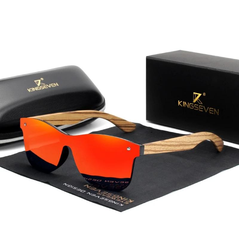 Men's Square Sunglasses With Zebra Wooden Frame Mirror Lens