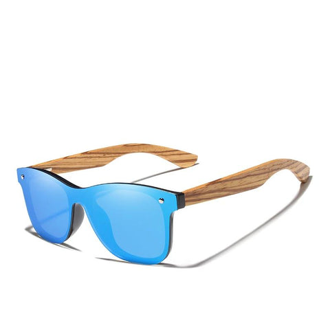 Image of Men's Square Sunglasses With Zebra Wooden Frame Mirror Lens