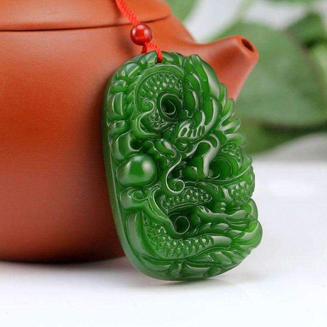 Green Jade Stone Handmade Carving Dragon pendant
