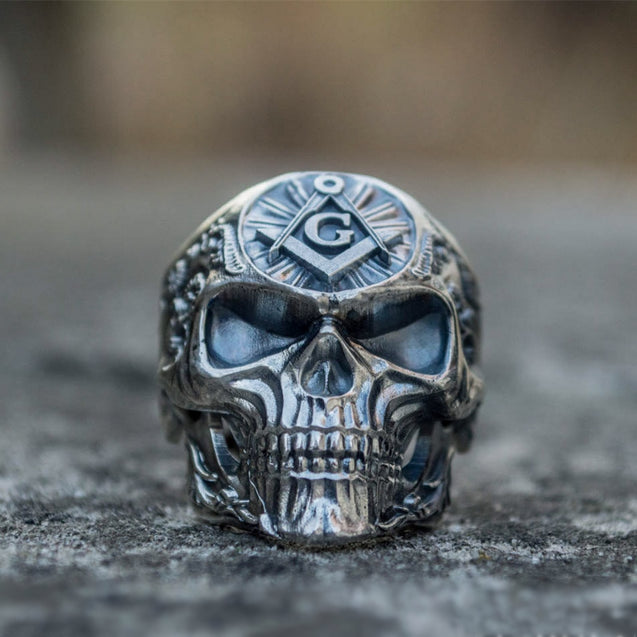 Knights Templar Freemason Stainless Steel Skull Ring