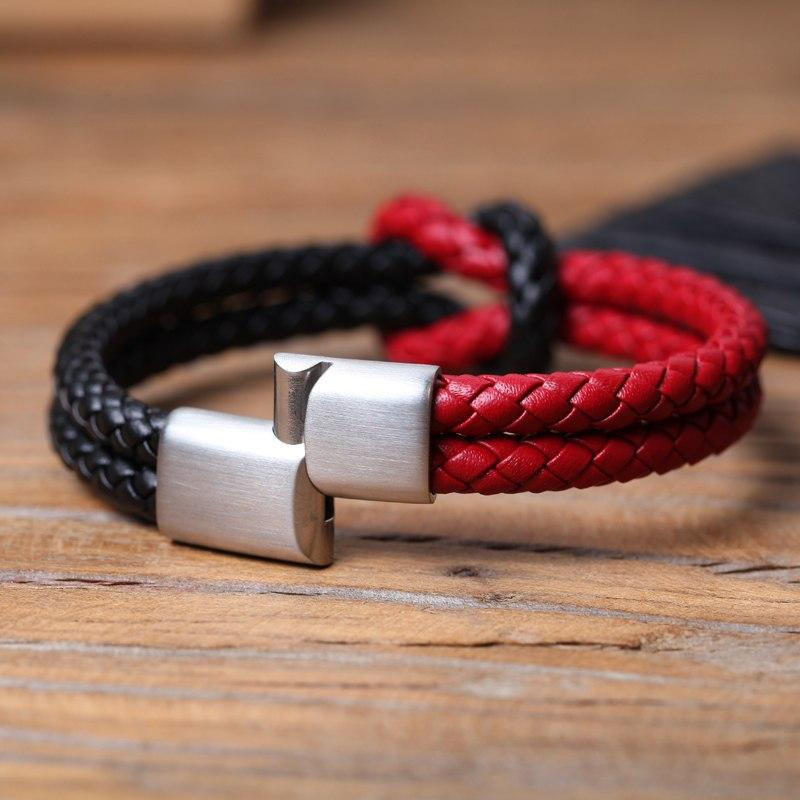 Manilo Double Layer Mens Leather Bracelet