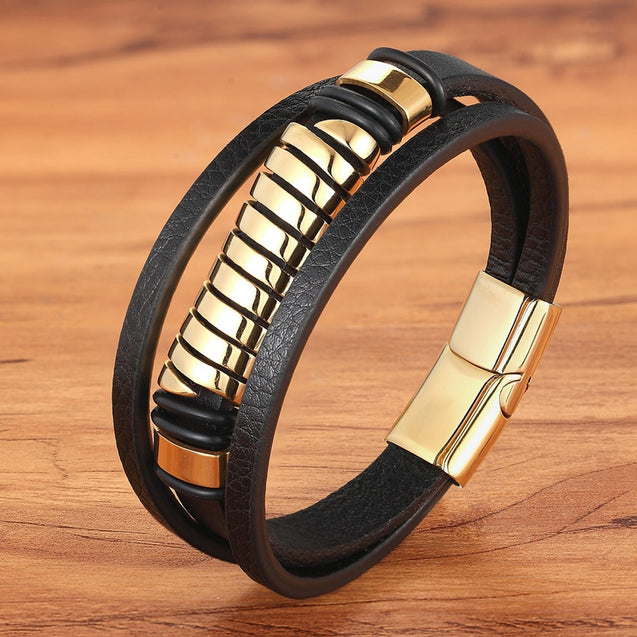 Luxury Geometric Design Multi layer Men's Leather Bracelet