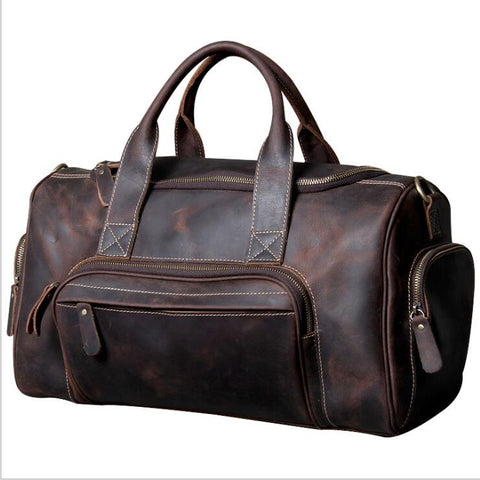 Image of 45cm Genuine Leather Men's Travel Duffle bag