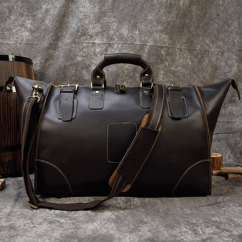 Image of High Quality Crazy Horse Leather Duffle bag