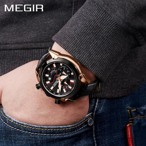 Mens Leather Classic Watch