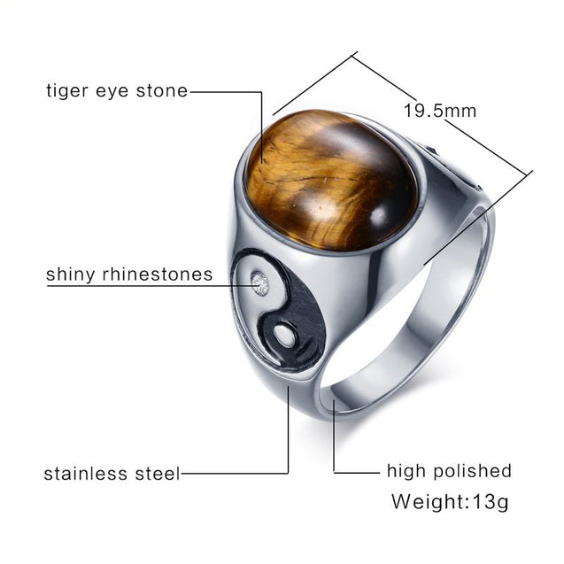 Mens Oval Tiger Eye Stone Ring
