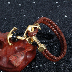 Vintage Braided  Leather Anchor Bracelet