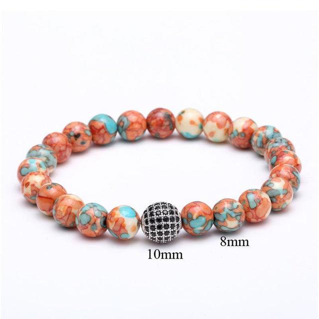 Mens Disco Ball Bracelet  With Colorful Stones