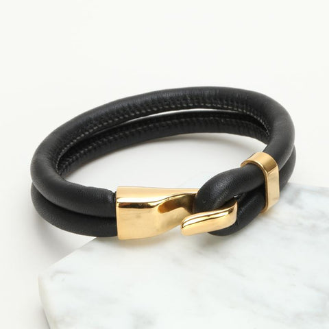 Image of Mens Black Leather Bracelet With Golden Buckle
