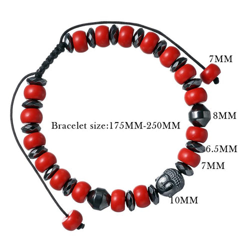 Image of Buddha Beaded Bracelet With Red Cinnabar Stone