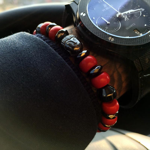 Buddha Beaded Bracelet With Red Cinnabar Ston