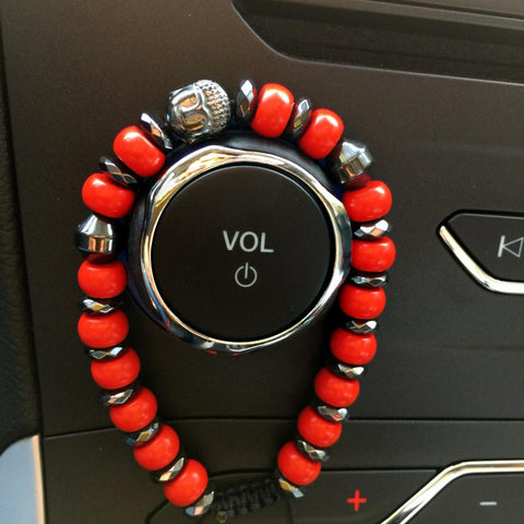Buddha Beaded Bracelet With Red Cinnabar Stone