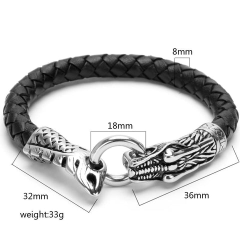 Image of Snake Head Genuine leather Bracelet
