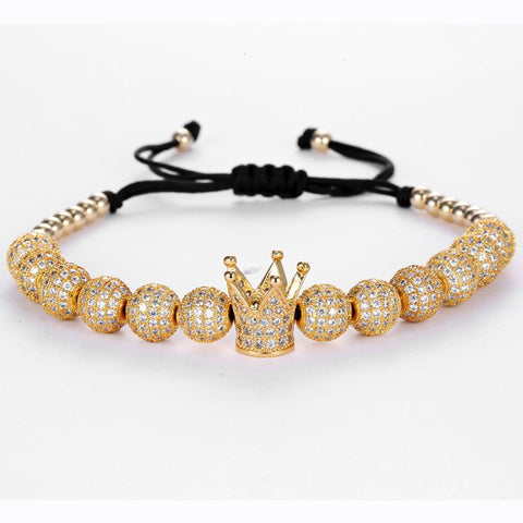 Mens Luxury Beaded Crown Bracelets