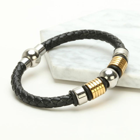 Image of Mens Braided Leather Bracelet With Charm