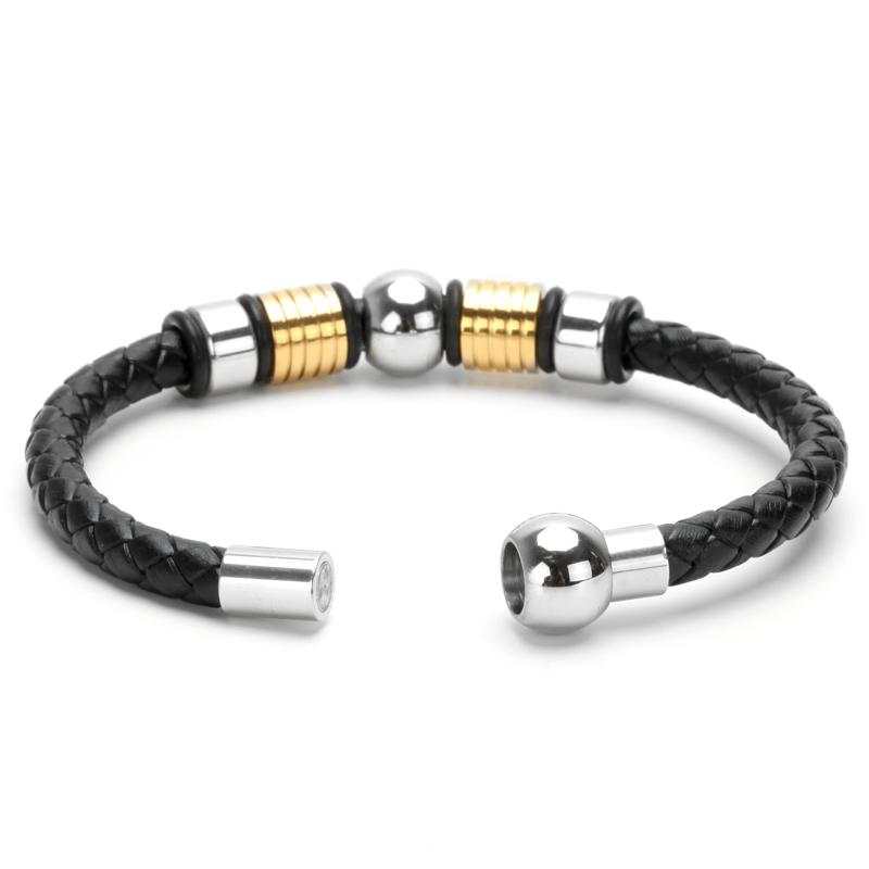 Mens Braided Leather Bracelet With Charm