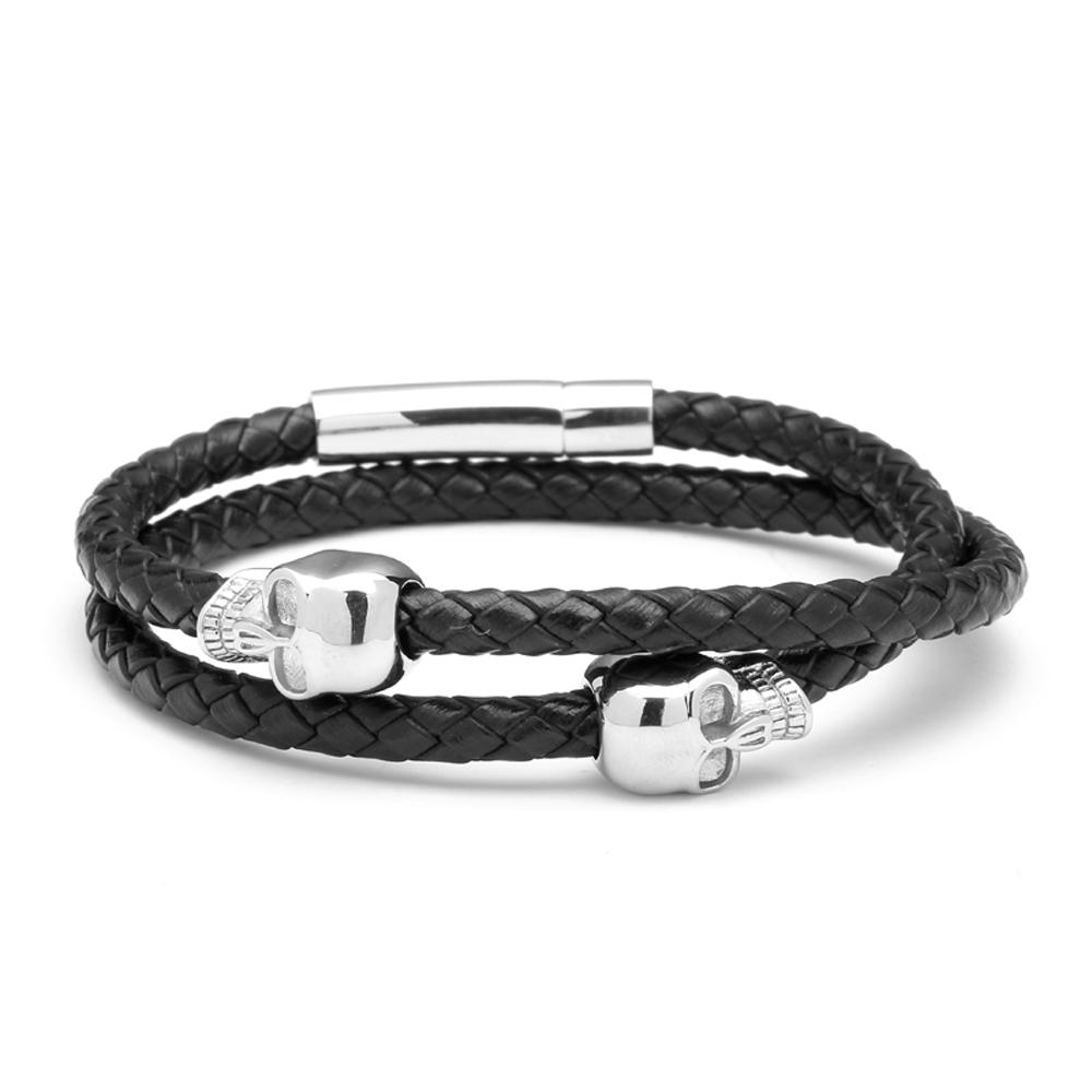 Mens Leather Skull Bracelet