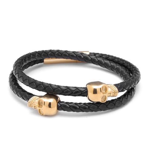 Image of leather skull bracelet