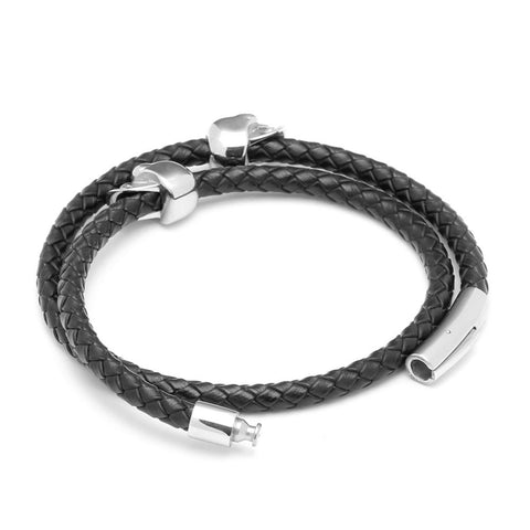 Image of Mens Leather Skull Bracelet
