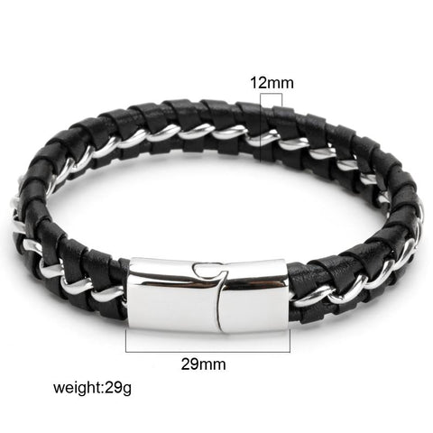 Image of Mens Leather Bracelet & Titanium Pattern