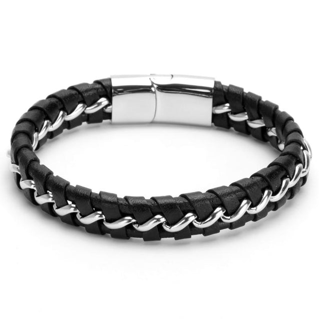 Mens Leather Bracelet & Titanium Pattern
