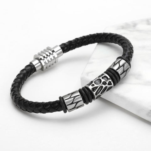 Image of Black Leather Bracelet With Charm
