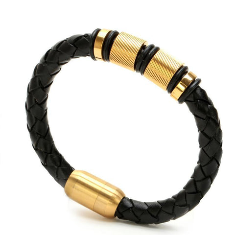 Mens Black Leather Bangle Titanium Steel Bracelet