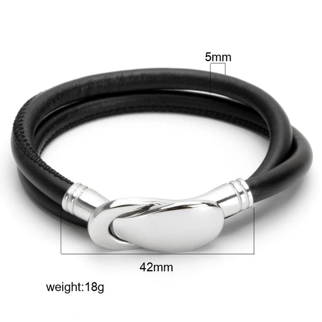 Mens Black Leather Bracelet With Silver Buckle