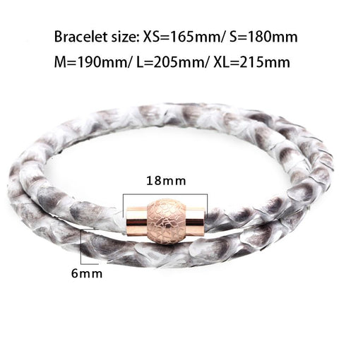 Mens Grey Python Leather Bracelet