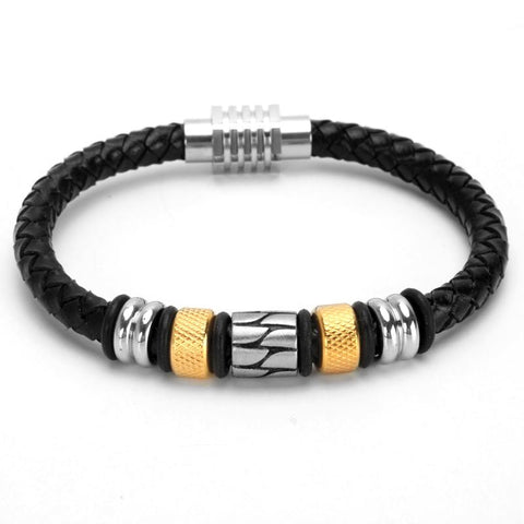 Image of mens braided leather bracelet