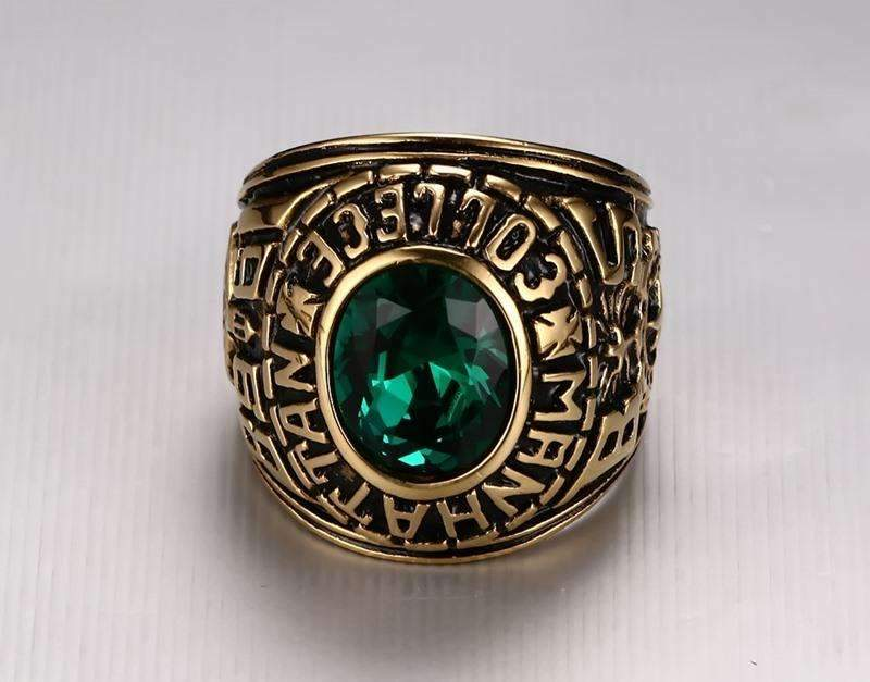 Men's Manhattan Vintage Ring with Green Crystal