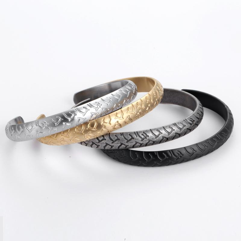 Retro Engraved Mens Cuff Bracelets