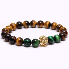 Lion Head Natural Stone Beaded Bracelet [4Variations]