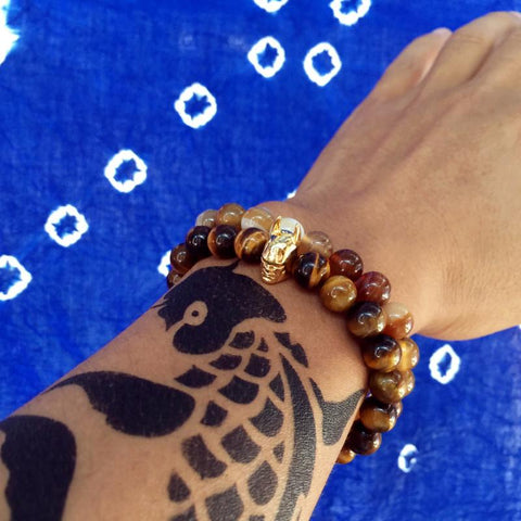 Image of Mens Beaded Batman Bracelet With Tiger Eye Stone