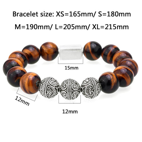 Image of Mens Beaded Bracelet With Tiger Eye and Lava Beads