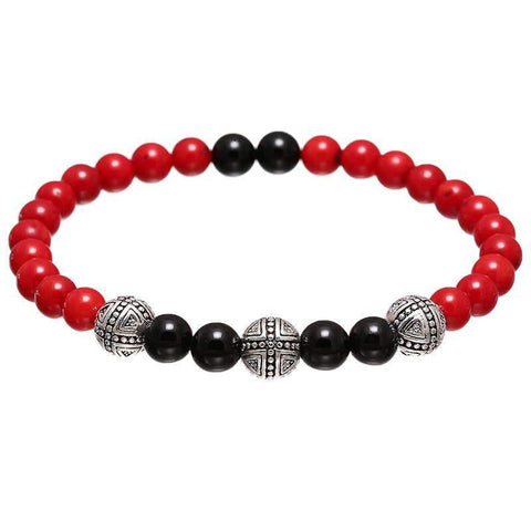 Agate & Red Coral Beads Bracelet