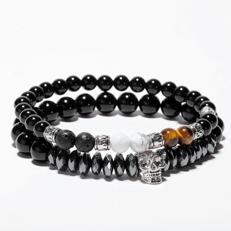 8c0a0f44c9343 Onyx Black Skull Natural Stone Bracelet in 2019 Products Stone