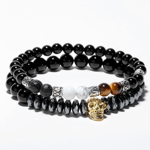 Image of Luxury Skull Natural stone bracelet [2 PCS/SET]