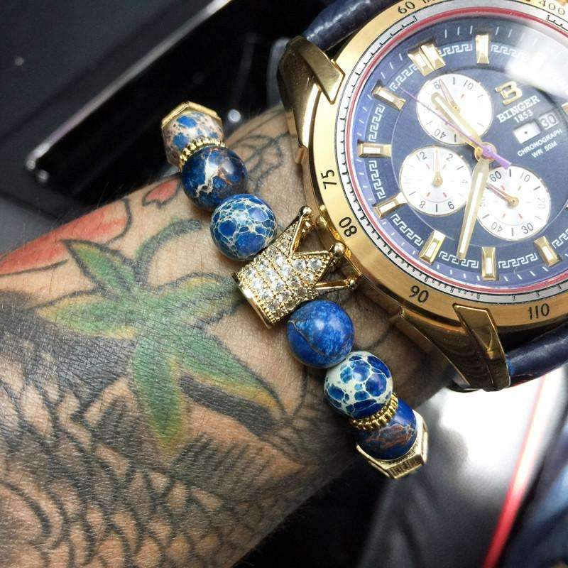 Blue Stone Mens Beaded Crown Bracelet