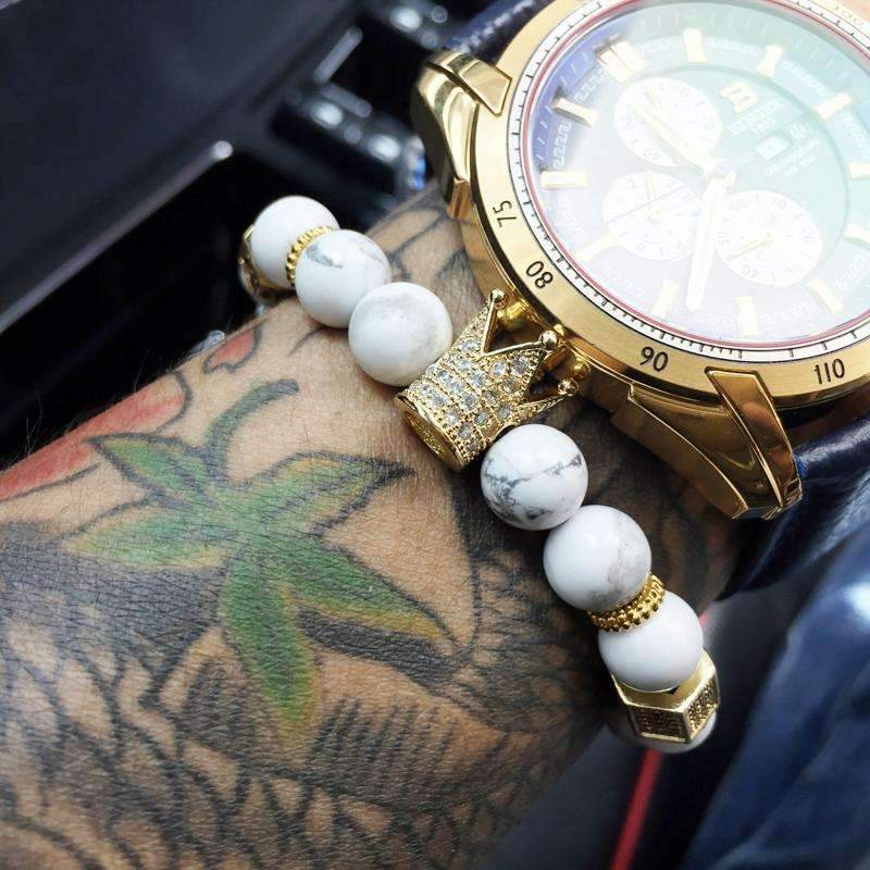 White Stone King Crown Beaded Bracelet