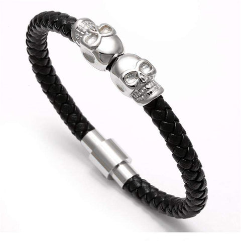 Image of Genuine Leather Skull Bracelet [3 Variations]