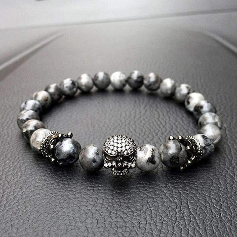 Image of Mens Skull Bracelet With Natural Grey Stone Beads
