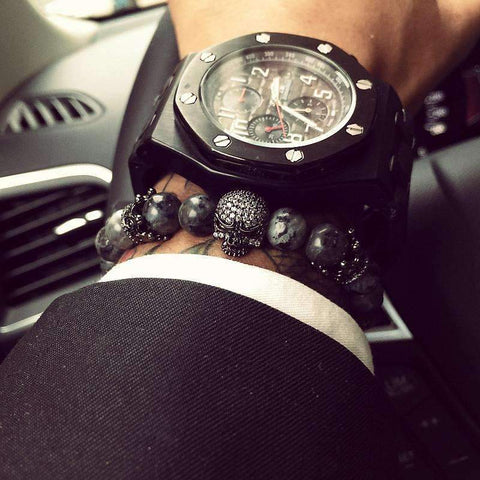 Mens Skull Bracelet With Natural Grey Stone Beads