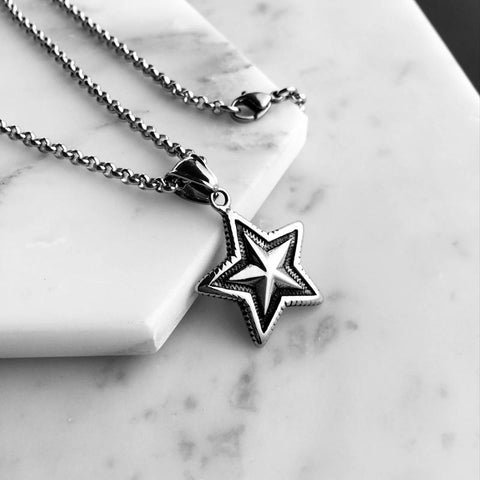 Image of Titanium  Star Pendant Necklace