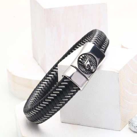 Image of Braided Leather Bracelet With Skull Design