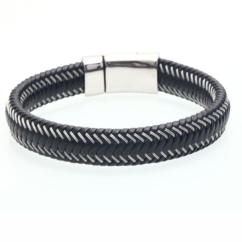 Braided Leather Bracelet With Skull Design