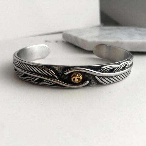Image of Feather Motif Cuff Bracelet