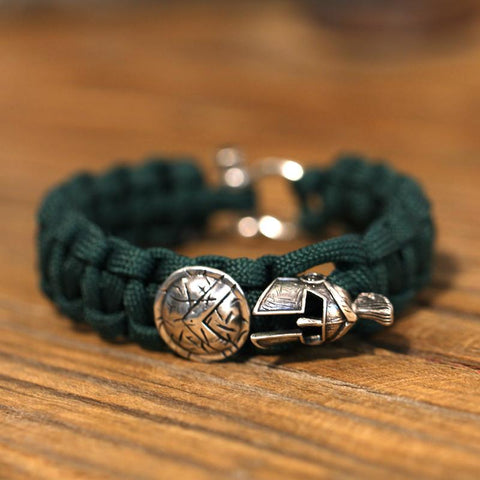 Spartan Paracord Bracelet With Helmet & Shield