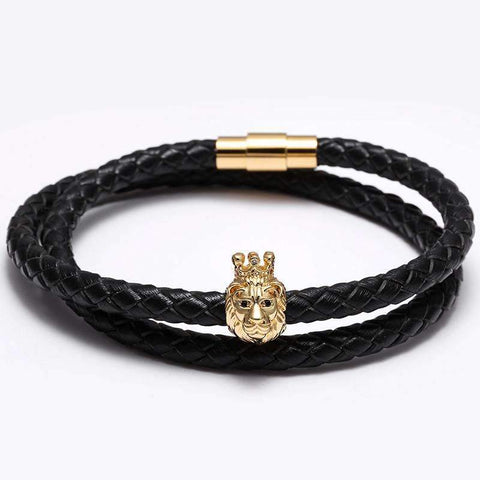 Image of Crowned Lion Bracelet With Braided Leather